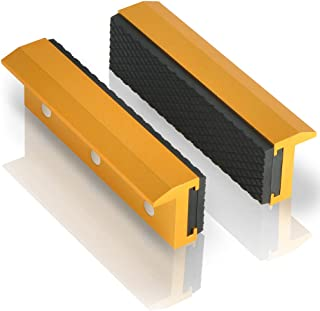 """TRISENSE Vise Jaw Covers,Aluminum Multipurpose 4""""Soft Vice Inserts-Use On Any Drill Press Vise As Accessories,Gold Vise Jaws Pads(2 Pack In 1)"""