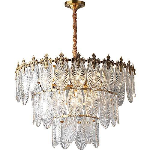 UWY Lámpara de araña de Lujo Luz Colgante de Cobre Completo Luz de Techo de Cristal de Cristal Creatividad LED Comedor para Dormitorio Comedor Sala de Estar, Dormitorio, vestíbulo, Pasillo