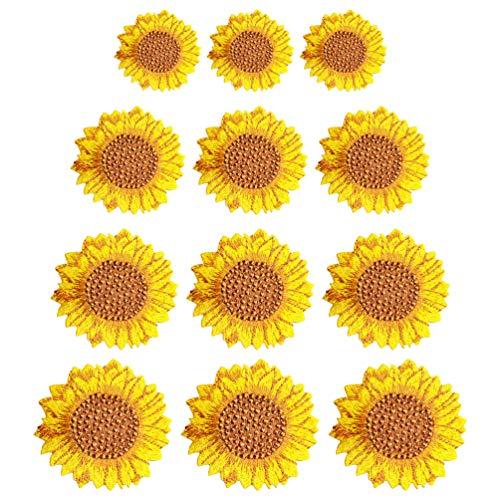 SOIMISS 12 Pièces Patchs de Broderie de Tournesol Bricolage Coudre sur Applique Badge Tissu Sac à Dos Personnalisé Applique Patch Réparation de Vêtements Robe Accessoires pour Vêtements