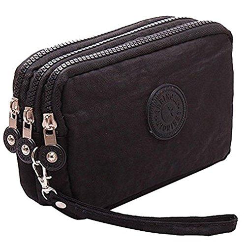 Fueerton - Bolso multiusos con cremallera y 3 apartados para guardar llaves, tarjetas, teléfono y dinero, Negro (Negro) - Fueerton