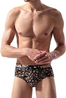 QIYUN.Z Mens Printed Triangle Ice Silk Briefs Underwear