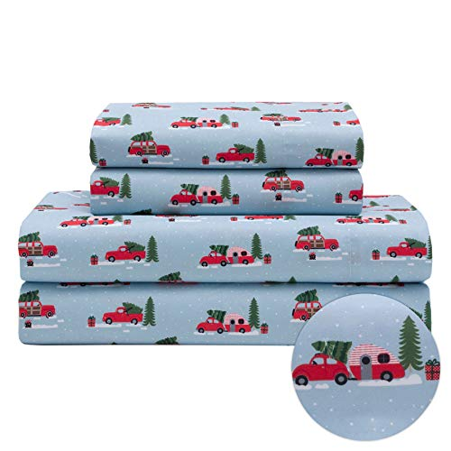 King Holiday Winter Microfiber Bedding Sheet Set Christmas Tree Truck Red White, and Blue