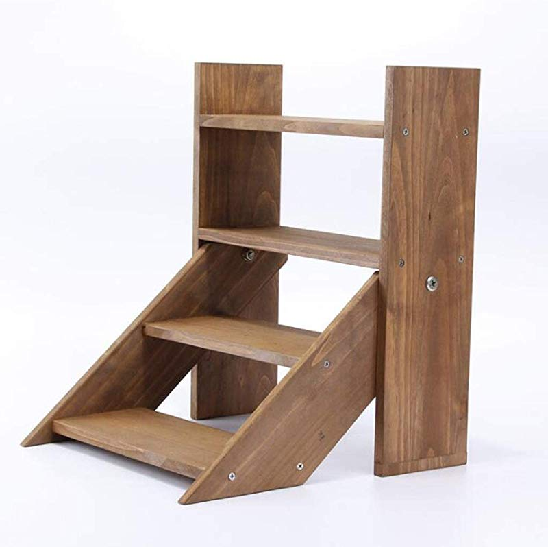 HU Solid Wood Mini Plant Flower Shelf Simple Small Ladder Type Rack