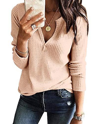 Womens V Neck Shirts Long Sleeve Waffle Knit Loose Fitting Warm Tee Tops (Large, Light Khaki)
