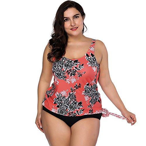 FeelinGirl Conjunto de Bikini Estampado Floral Falda y Braga Talle Medio 2 Piezas Talla Grande para Mujer