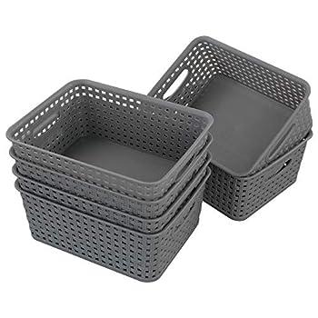 Wekiog Plastic Storage Baskets with Handles Gray Set of 6