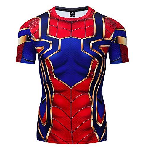 HOOLAZA Avengers Super Heroes Hombres Camiseta de compresión de Manga Corta Hombre Fitness Gym Training Tops