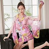 Bata De Satén para Mujer,Traje De Día De San Valentín Vestido De Lencería Sexy Japonesa Transparente Kimono Sauna SPA Bata De Baño Ropa De Dormir Camisón para Esposa Mujer Niña Señoras, Rosa,