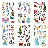 Tatuajes temporales de Navidad,6 hojas Tatuajes de Navidad Tatuajes de Navidad para niños Papá Noel Reno Copo de nieve Muñeco de nieve Árbol de Navidad Muchos patrones Tatuajes para Niños Niñas (Red)