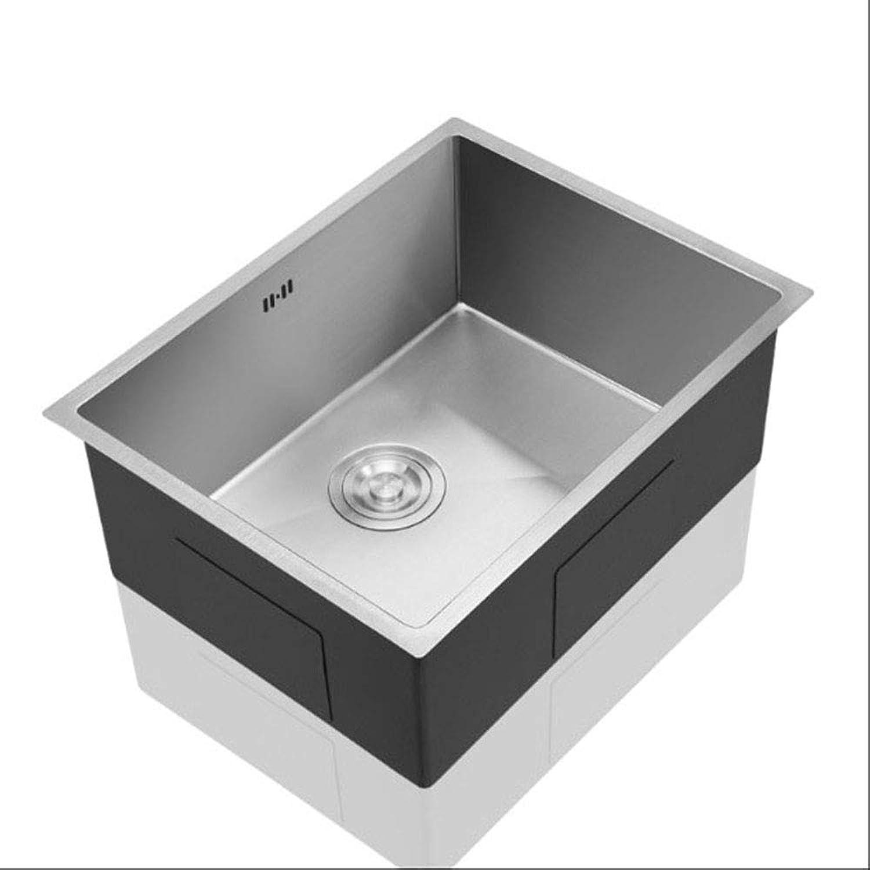 YIEWFI Kitchen Sink Design, Single-Slot Square Edelstahl-Küchenspüle für Unterputzmontage, Wasserhahn-Set, 304 Edelstahldrahtzeichnung,Metallic,A