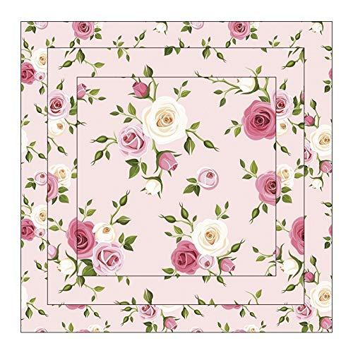 Duo-Design Faltpapiere   150 Blatt   quadratisch   3 Größen (10cm, 7cm, 5cm) à 50 Stück   Beidseitiger Druck: Muster/unifarben   Bastelpapier   Origami-Papier (Rosen   rosa)