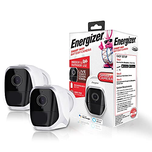 2pk Energizer Connect Wireless Rechargeable Battery-Powered Smart WiFi Security Camera, 1080p Video, Indoor/Outdoor Weatherproof, PIR Motion Detection, 2-Way Audio, Night Vision, Cloud Storage/SD Slot
