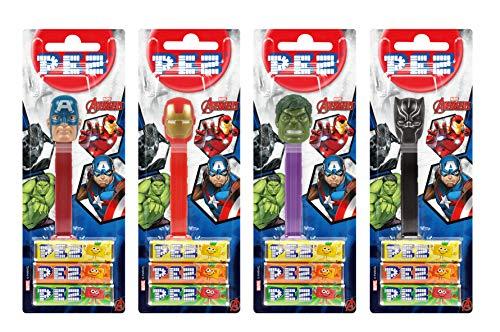 PEZ Spender Set Avengers (4 Spender mit je 3 PEZ Bonbons á 8,5g - 1 PEZ-Figur doppelt als Überraschung) + 2 Nachfüllpacks (8 PEZ Bonbons á 8,5g)