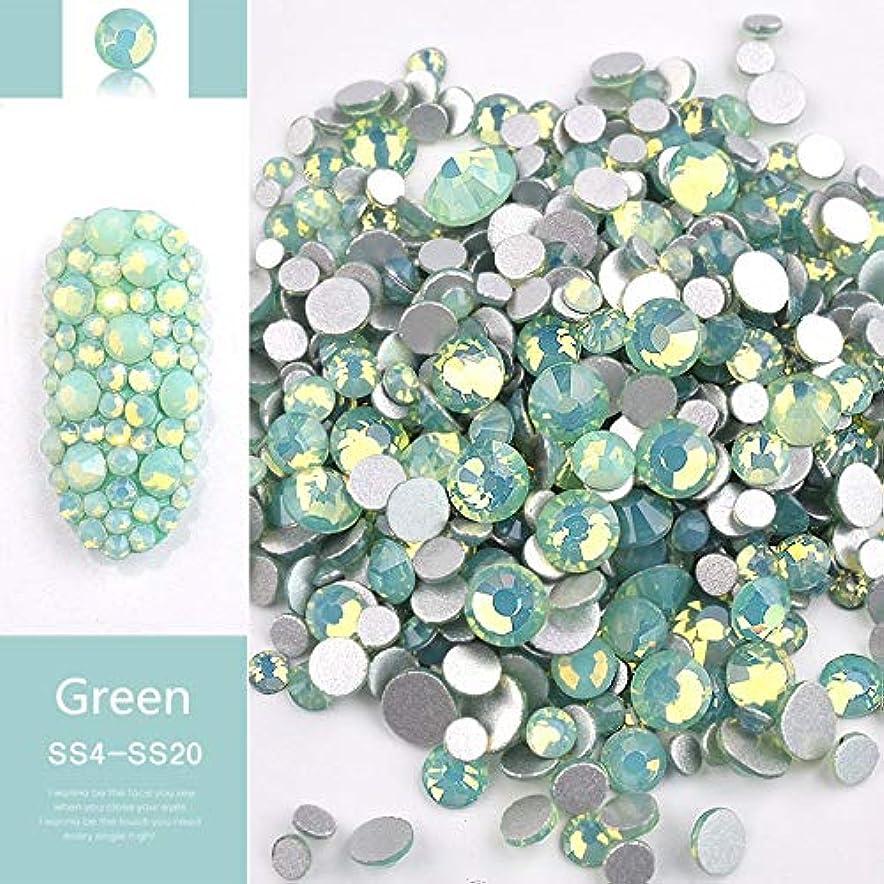 テザーマットくそーJiaoran ビーズ樹脂クリスタルラウンドネイルアートミックスフラットバックアクリルラインストーンミックスサイズ1.5-4.5 mm装飾用ネイル (Color : Green)