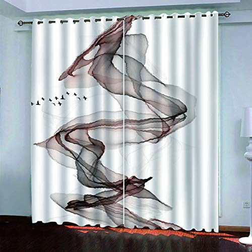 YUNSW 2-Piece Perforated Curtain, Sun Shade For Kitchen, Living Room And Bedroom Garden, 3D Graffiti Curtain