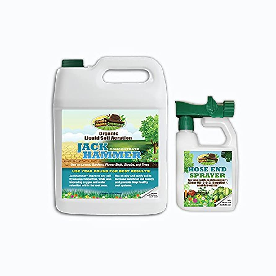 Jackhammer Organic Liquid Soil Aeration-Creates Healthy Soil-No More Mechanical Aeration-Reduce Need for Supplemental Irrigation! (1 Gallon)
