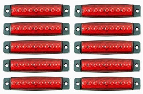 Lot de 10 feux de gabarit arrière LED 24 V rouge avec 9 LED pour camion remorque bus châssis van camping
