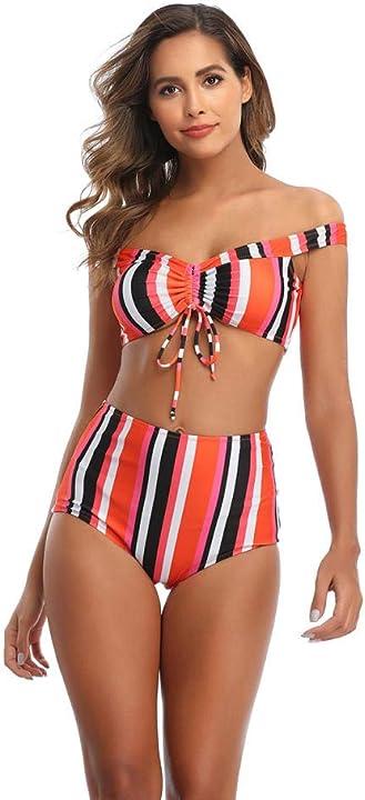 Bikini a spalla dritta a vita alta a strisce bjne tankini da donna nuovo costume da bagno sexy 9867422531526