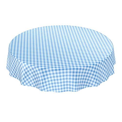 ANRO Wachstuchtischdecke Wachstuch Wachstischdecke Tischdecke Wachstuchdecke Karo Kariert Blau Rund 140cm