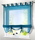 SIMPVALE Condole Estilo Romano L caida Sombra Ventana Cortina para Balcon y de la Cocina, Azul, 140cm*155cm