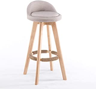 SJMDZZ Silla de Comedor Taburete Alto, Respaldo tapizado de Madera, reposapiés, reposapiés, Silla de Desayuno, Cocina en casa, sillas (Color : D, Tamaño : 63cm)