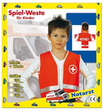 KarnevalsTeufel Spiel-Weste für Kinder Notarzt-Weste
