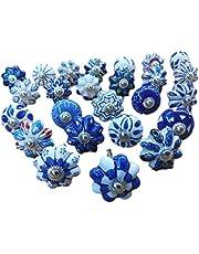 25 blauwe & witte keramische laden knoppen deur kast trekt Indiase Mix Knoppen. Express Prioriteit Verzending