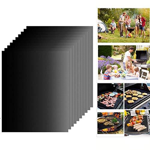 Dazone Grillmatte (10er Set) zum Grillen und Backen | aus Silikon mit Teflon Antihaftbeschichtung für bis 300°C | 40x33 cm | ideal für Gas - Kohle - E-Grill und Backofen geeignet (10)