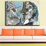 zhuziji DIY Pintar por números Imagen de Arte Abstracto de Escritura de Cara aterradora para decoración de hogar de Sala de estar40x60cm(Sin Marco)