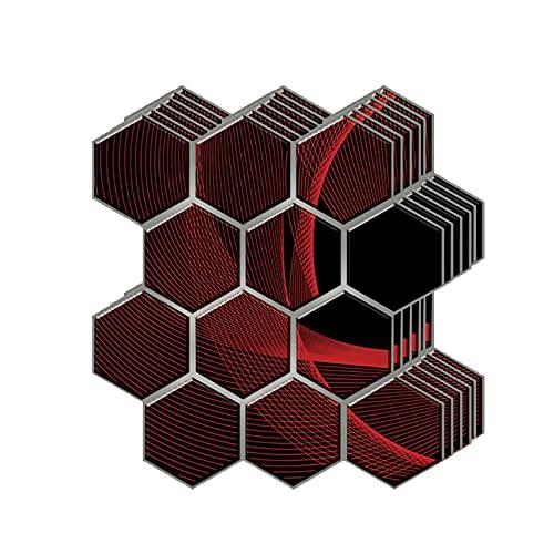 3D Decorativos Adhesivos para Azulejos Pegatina de Pared Engrosado, Azulejos de Gel, Efecto 3D, Cenefa Autoadhesivo, para Baño, Cocina, Sala de Estar y Habitación,30 x 30CM(Color:B,Size:30pcas)