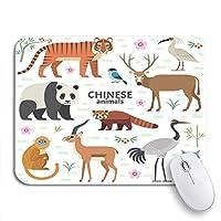 ROSECNY 可愛いマウスパッド 中国の動物パンダレッドデビッドディアタイガークレーン滑り止めゴムバッキングコンピュータマウスパッド用ノートブックマウスマット