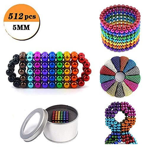 HUWAI-F Magnetische Bälle 1000/512 stück Neodym Magnetkugeln Bunt 5mm - extra Starke Anti Stress Magnetic Balls als Büro Gadget und für Magnettafeln5mm 512pcs