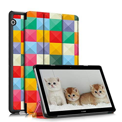 TOPCASE Funda Compatible con Huawei MediaPad T3 10,Ultra Delgado PU Funda de Piel Case con Soporte Función para Huawei MediaPad T3 10 9.6 Pulgadas,Cúbico