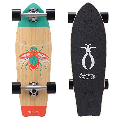 SANVIEW Kurzes Bambus-Longboard Cruiser für Kinder und Erwachsene, Unisex-Erwachsene, Insekten, 28inch