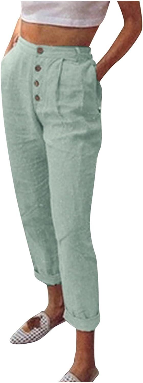 Elastic Waist Pants for Women,Women's Casual Solid Button Pants Slim Pocket Elastic Waist Pencil Pants
