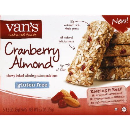 Van's Cranberry Almond Whole Grain Gluten Free Snack Bars 5 Ct (Pack of 3)