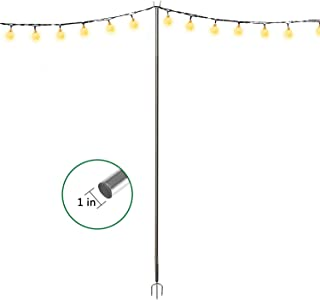 COCONUT Outdoor Pole 11-Foot for Hang LED Lightweight String Lights,Stainless Steel Anti-Rust Stand Holder for Backyard,Patio,Wedding
