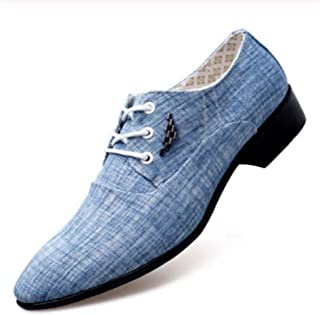 Xiang Ye Business Oxford for Men Formal Dress Shoes Lace Up Canvas Vamp Pointed Toe Block Heel British Style Contrast Collar Split Joint (Color : Light blue, Size : 46 EU)