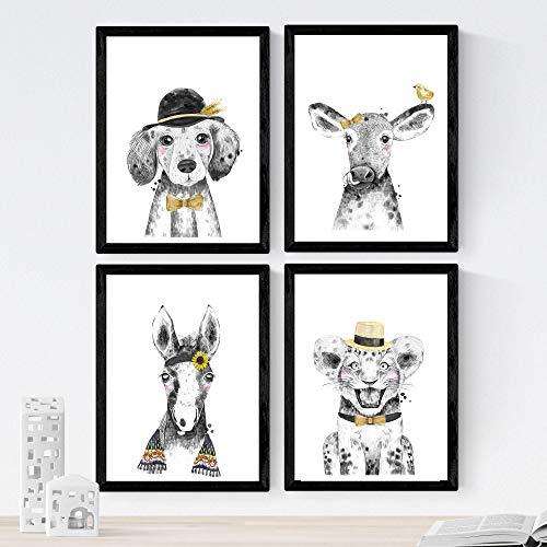 Nacnic Set de 4 láminas de Animales Infantiles Son Sombrero,en tamaño A4, Poster Papel 250 gr Marco