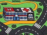 Spielteppich Autoteppich Straßenteppich City - 95x200 cm, Anti-Schmutz-Schicht, Auto-Spielteppich für Mädchen & Jungen, Kinderteppich Strasse Fußbodenheizung geeignet - 6