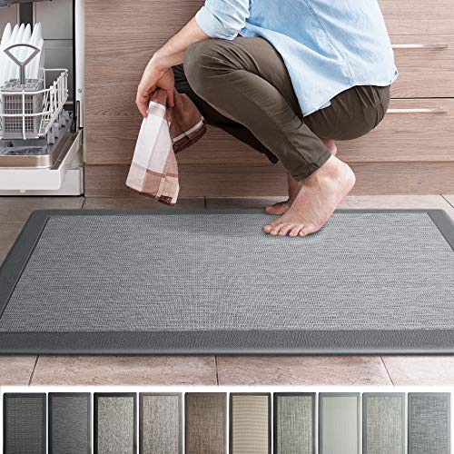 iCustomRug Ergonomic Anti Fatigue Kitchen Mat with Durable textalene Surface, for Comfort While Standing in Kitchen, Bathroom, Workstation Memory Foam Mat 39'×20'×0.75' (L×W×H) in Granite