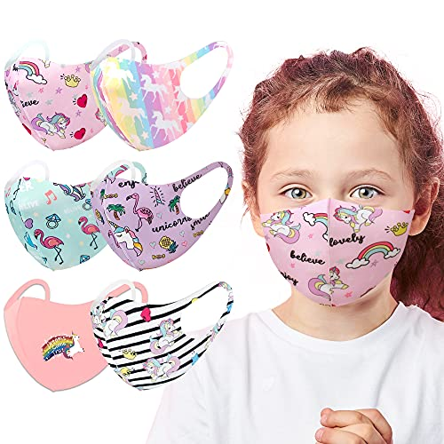 5 VARIETY PACK – Unisex Cute Animal Fashion Breathable Washable Reusable Face Mask For Kids Boys & Girls (6, Unicorn 6 Pack)