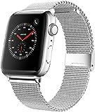Mediatech Correa de repuesto compatible con Apple Watch, 44 mm, 42 mm, 40 mm, 38 mm, de acero inoxidable, con cierre rápido, compatible con iWatch Series 6/5/4/3/2/1 (38 mm/40 mm, plateado)