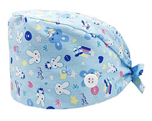 Cloudkids Sombrero Enfermera Unisex Ajustable Robin Hat Estampado Animal Sombrero Quirofano Reutilizable Dentista Gorro Gorro de Trabajo Algodón para Pelo Largo Corto (Conejo)