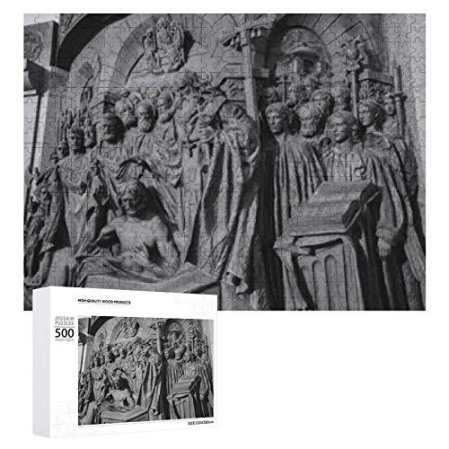 Moscú Rusia Monumento de octubre 500 piezas de rompecabezas de madera para adultos y adolescentes Diversión familiar Actividad con familiares y amigos Decoración Juegos de rompecabezas Regalo Juegos