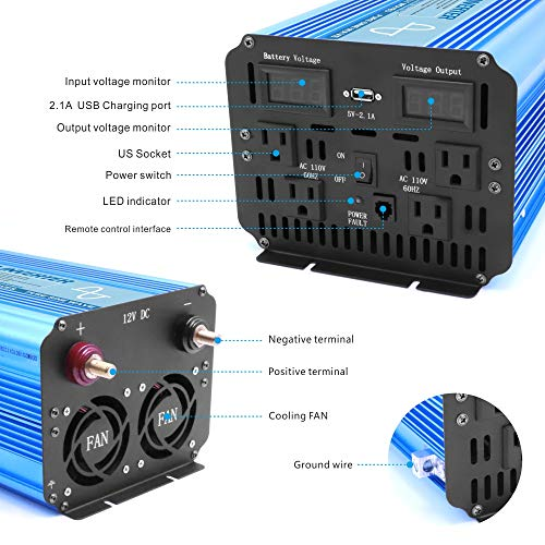 BELTTT 2000W Pure Sine Wave Power Inverter with Remote Switch 12V DC to 110 V AC with 4 AC Outlets and LCD Display and 1 USB Charging Port (4000W Peak)