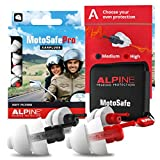 Alpine MotoSafe Pro Reusable Ear Plugs – Motorcycle Wind Noise Reduction & Hearing Protection - Hypoallergenic Soft Filter Earplugs Set for Motor Touring & Racing