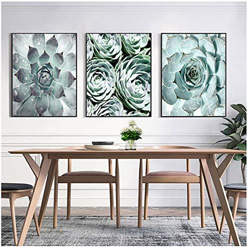 NIEMENGZHEN Kunstdruck auf Leinwand Botanische Leinwand Poster Kaktus Malerei an der Wand Kunstposter und Drucke Flower-50x70cm No Frame
