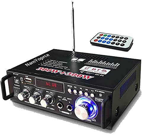 Mini Bluetooth Amplificador Audio, 600W HiFi de 2.0 Canales Audio...