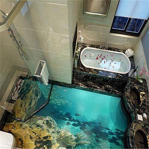 3D Bodenbelag Benutzerdefinierte Fototapete Sea World Wirklich 3D Boden Tapete Badezimmer Selbstklebende Pvc Wasserdichte Tapete, 150 * 105 Cm